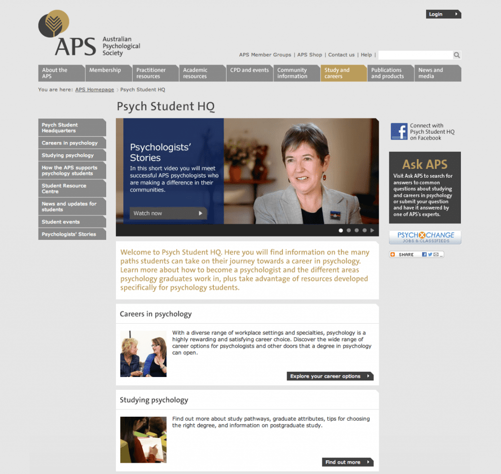 The Psychologist's Stories video, featured on the APS Website