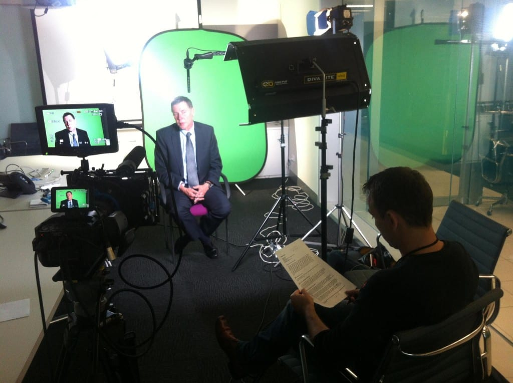 This clients production strategy included using a green screen